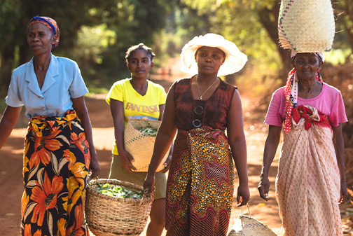 Women carrying bags of plants in Madagascar