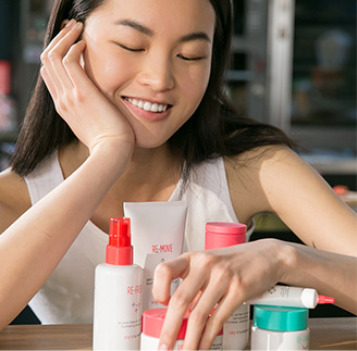 Young girl touching the products